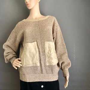 Alfani Knitted Contrast Elbow Patch Tan Sweater